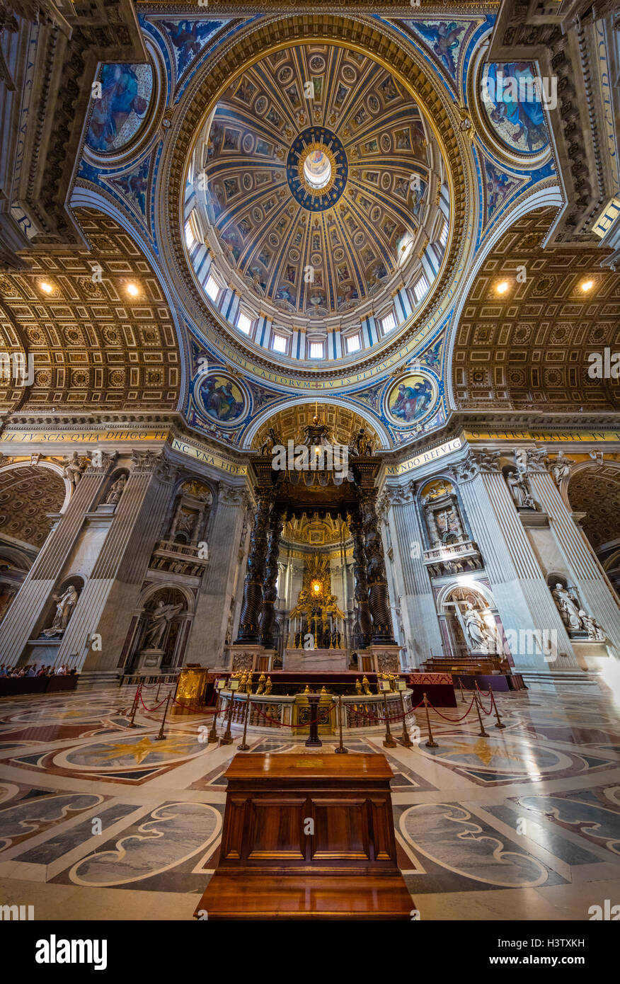 St. Peter's Basilica is a Late Renaissance church located within the Vatican City. - Stock Image