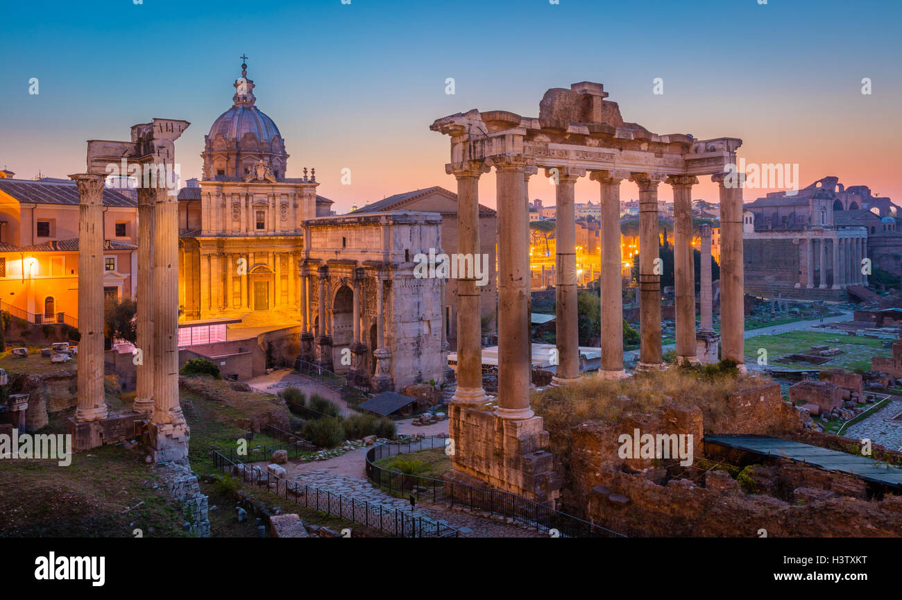 Forum Romanum is located between the Palatine Hill and the Capitoline Hill of the city of Rome, Italy. Stock Photo