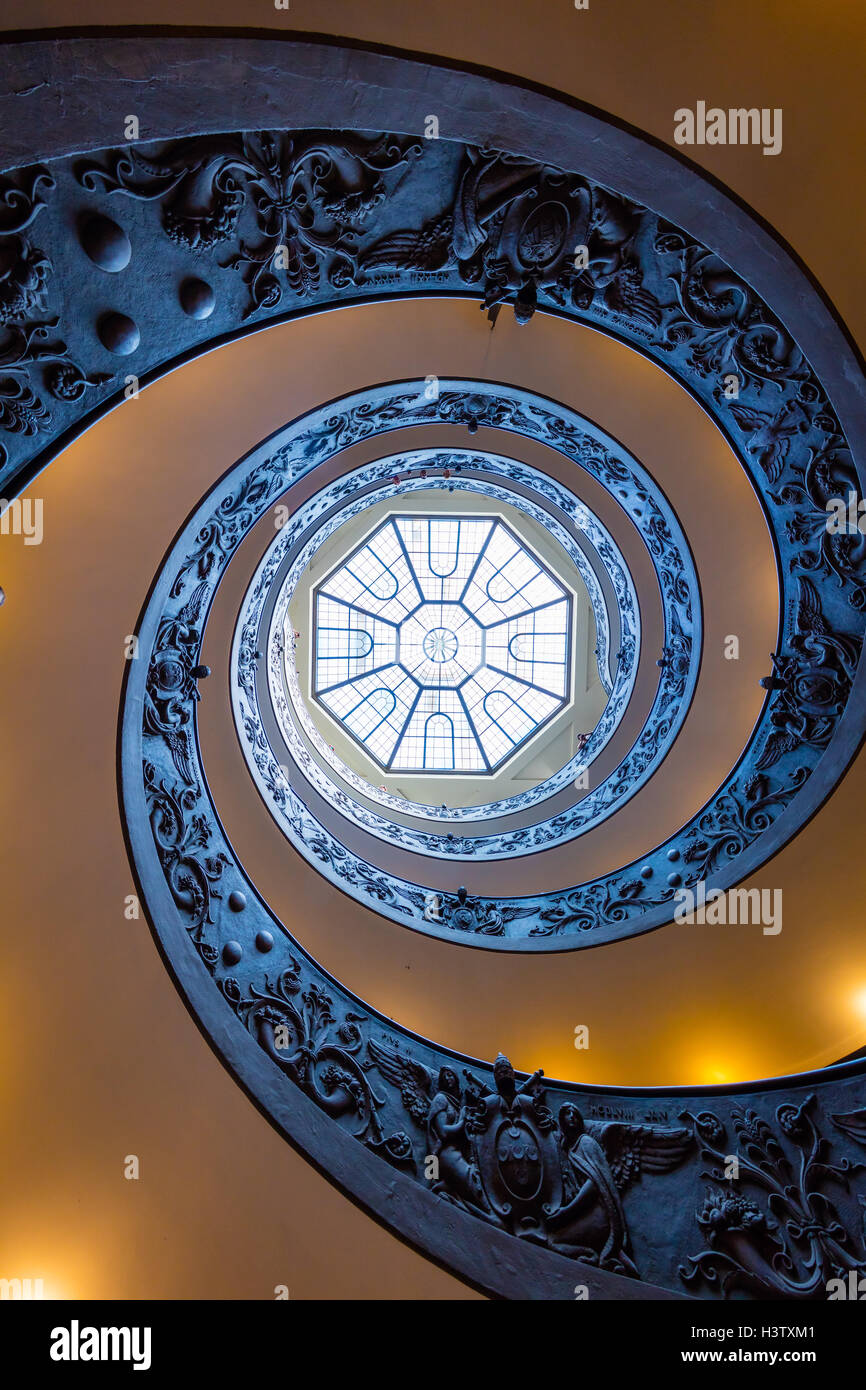 Spiral staircase in the Vatican museums (Italian: Musei Vaticani) Stock Photo
