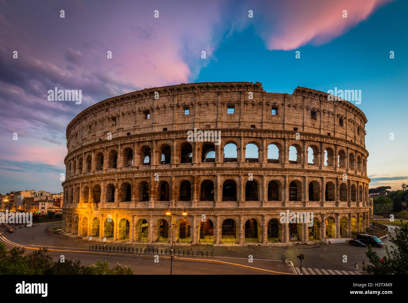 The Colosseum, the largest amphitheatre in the world, is an elliptical amphitheatre in the centre of the city of Stock Photo