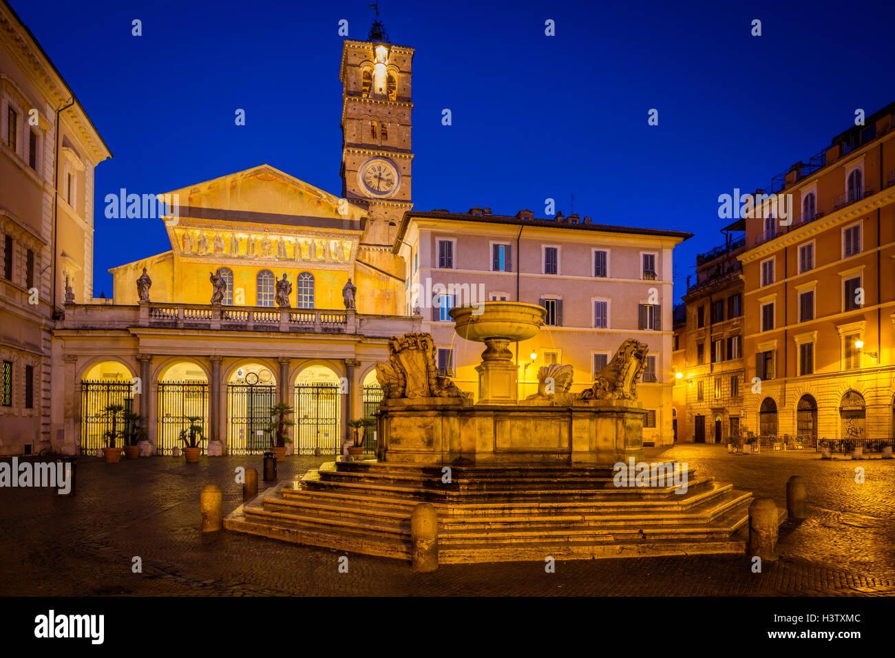 Piazza di Santa Maria and Basilica di Santa Maria in the Trastevere part of Rome, Italy - Stock Image