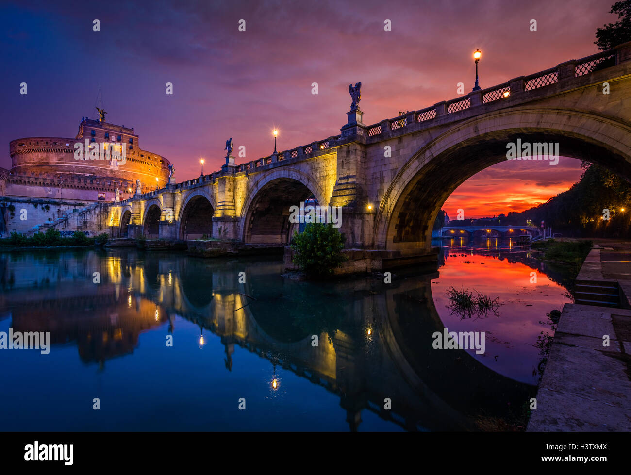 Castel Sant'Angelo, is a towering cylindrical building in Rome, Italy - Stock Image