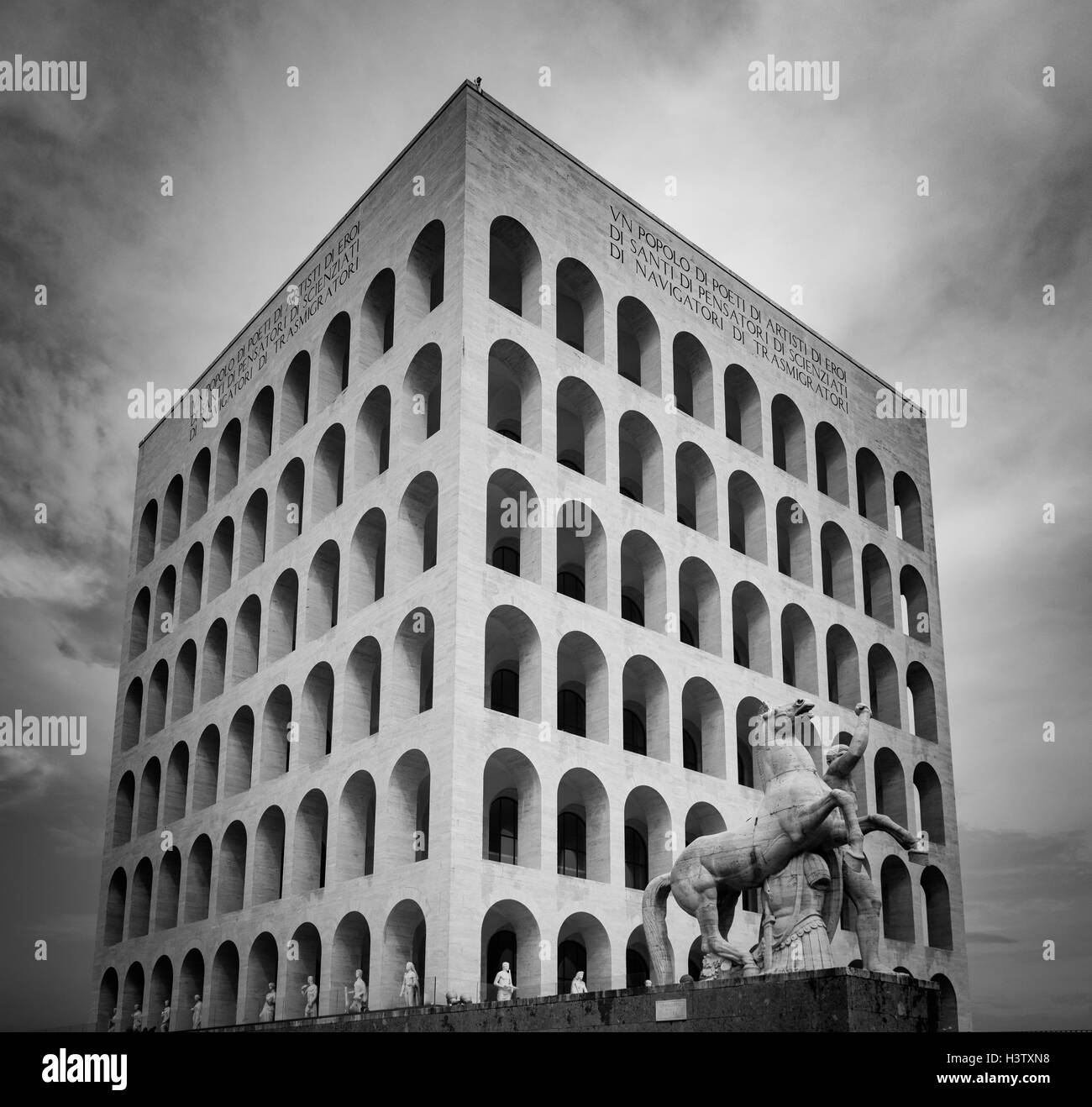 The Palazzo della Civiltà Italiana is an icon of Fascist architecture in the EUR part of Rome, Italy - Stock Image