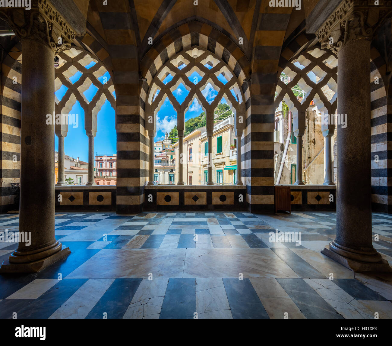 Amalfi Cathedral is a 9th-century Roman Catholic cathedral in the Piazza del Duomo, Amalfi, Italy. - Stock Image
