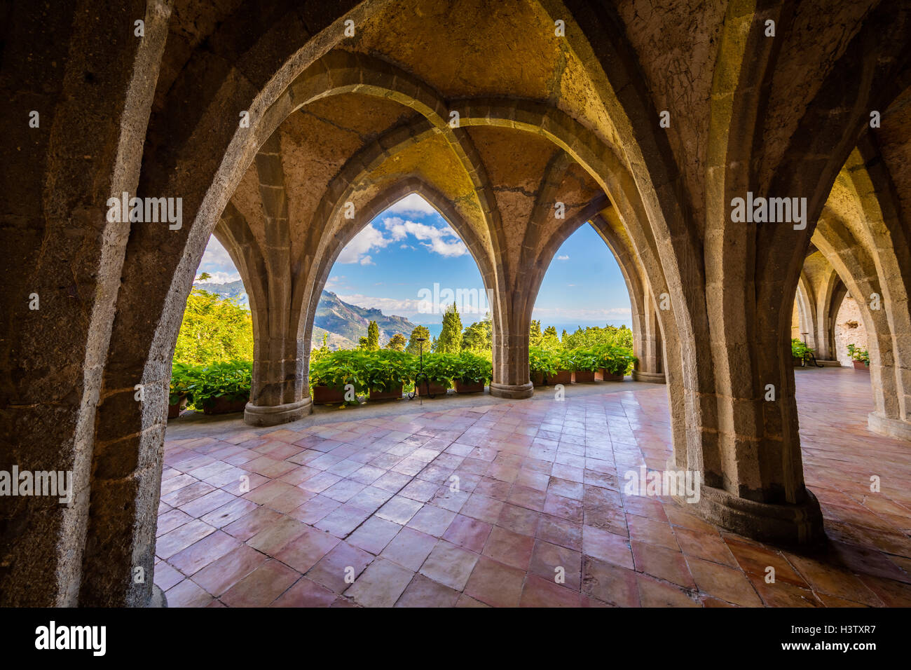 Villa Cimbrone is a historic building in Ravello, on the Amalfi coast of southern Italy. - Stock Image