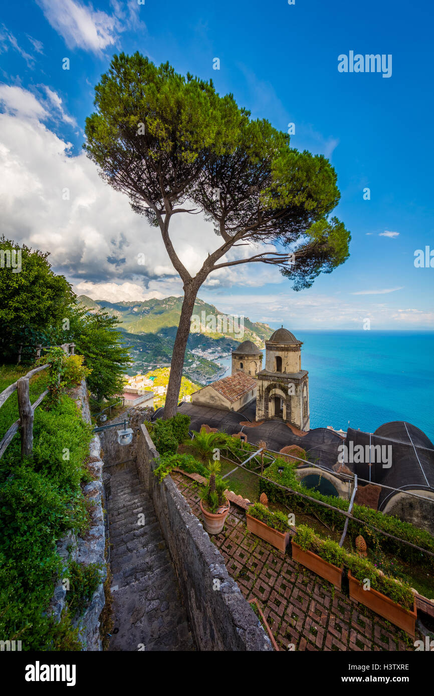 Villa Rufolo is a building within the historic center of Ravello, a town in the province of Salerno, Italy, and - Stock Image