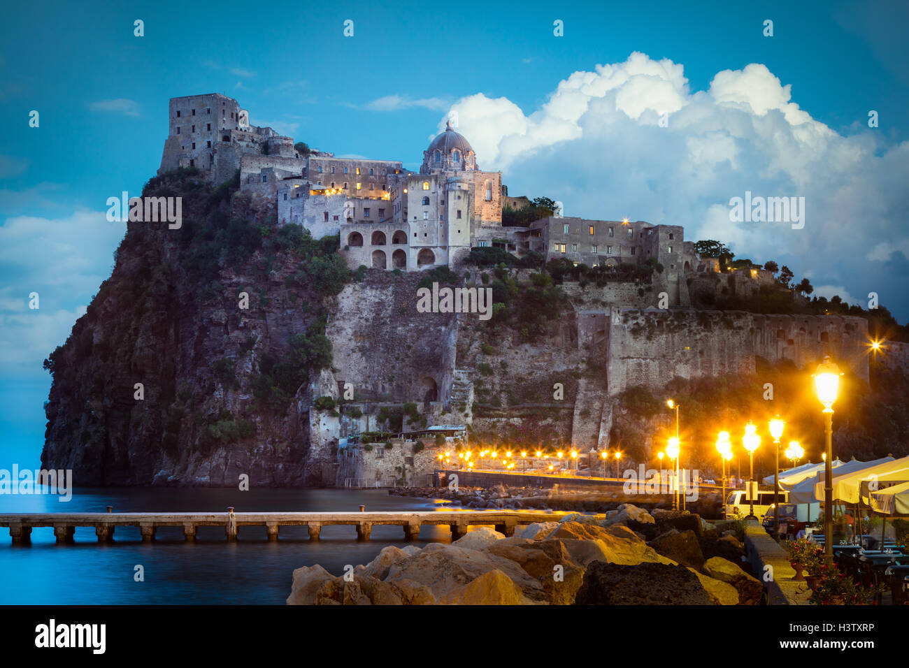 Castello Aragonese is a medieval castle next to Ischia (one of the Phlegraean Islands) - Stock Image