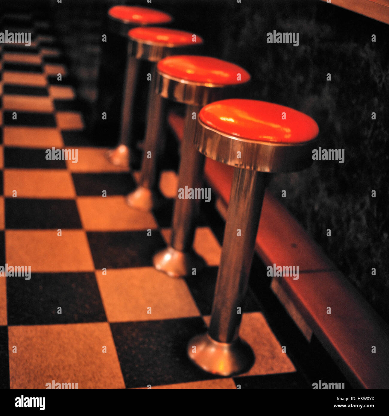 Miraculous 1930S 1940S Style Counter Stools In Nyc Diner Stock Photo Cjindustries Chair Design For Home Cjindustriesco