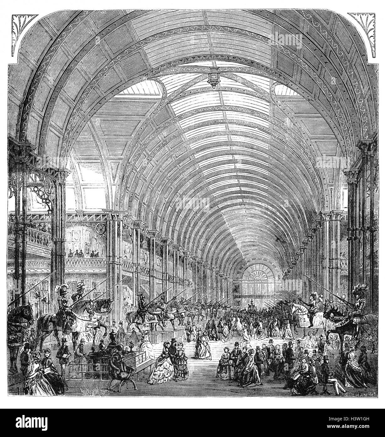 The interior of the Manchester Exhibition hall for the Art Treasures of Great Britain, an exhibition of fine art - Stock Image