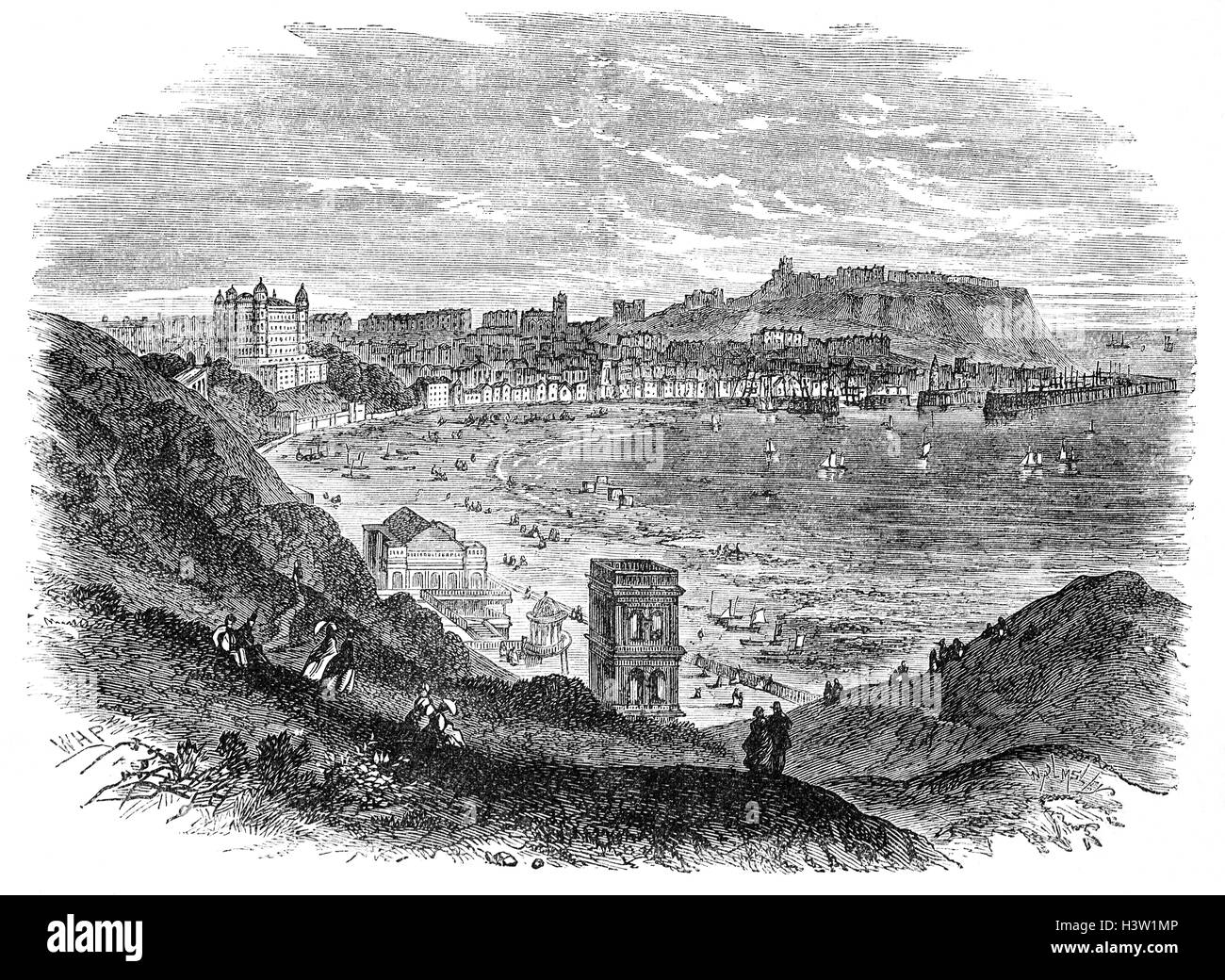 19th Century view of Scarborough, a town on the North Sea coast of North Yorkshire, England. Historically part of - Stock Image