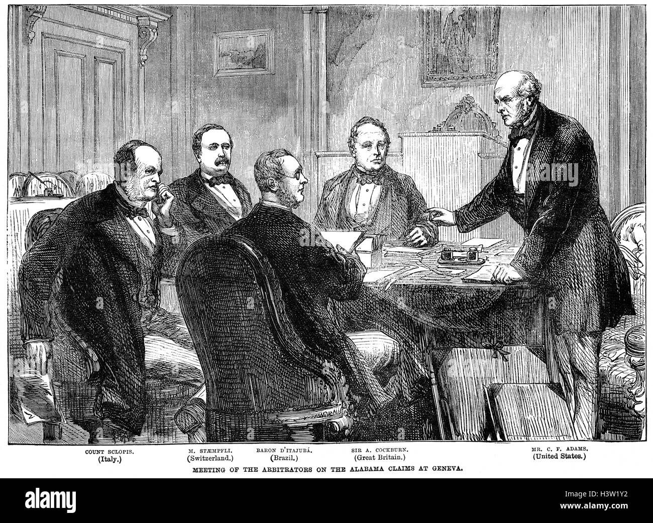 Arbiters on the 1871–72 international commission to settle the 'Alabama' claims meeting in Geneva.The Alabama - Stock Image