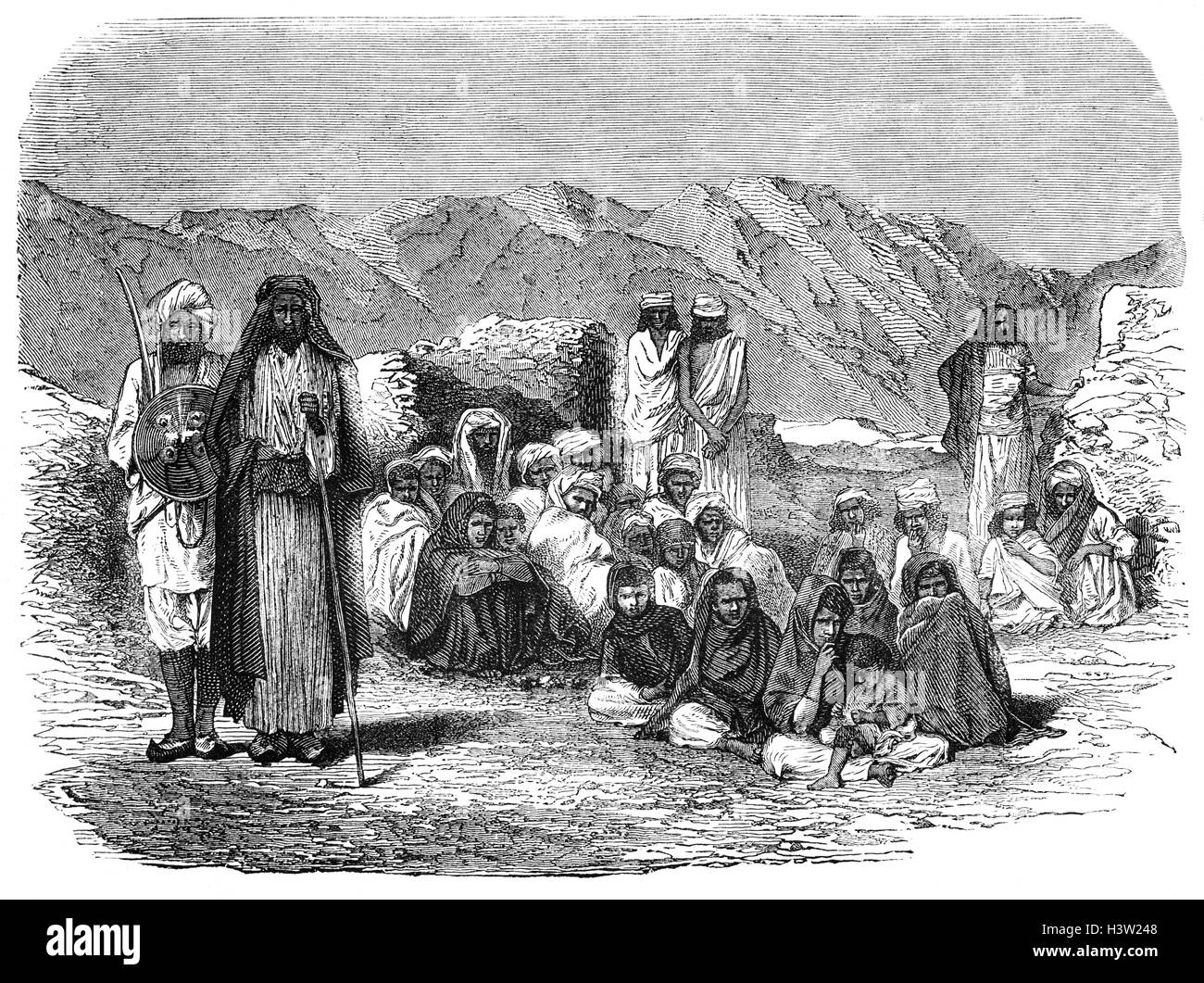 Afghan mountaineers in 1872, about the time that Amir Shir Ali took the throne, a move that created friction with - Stock Image