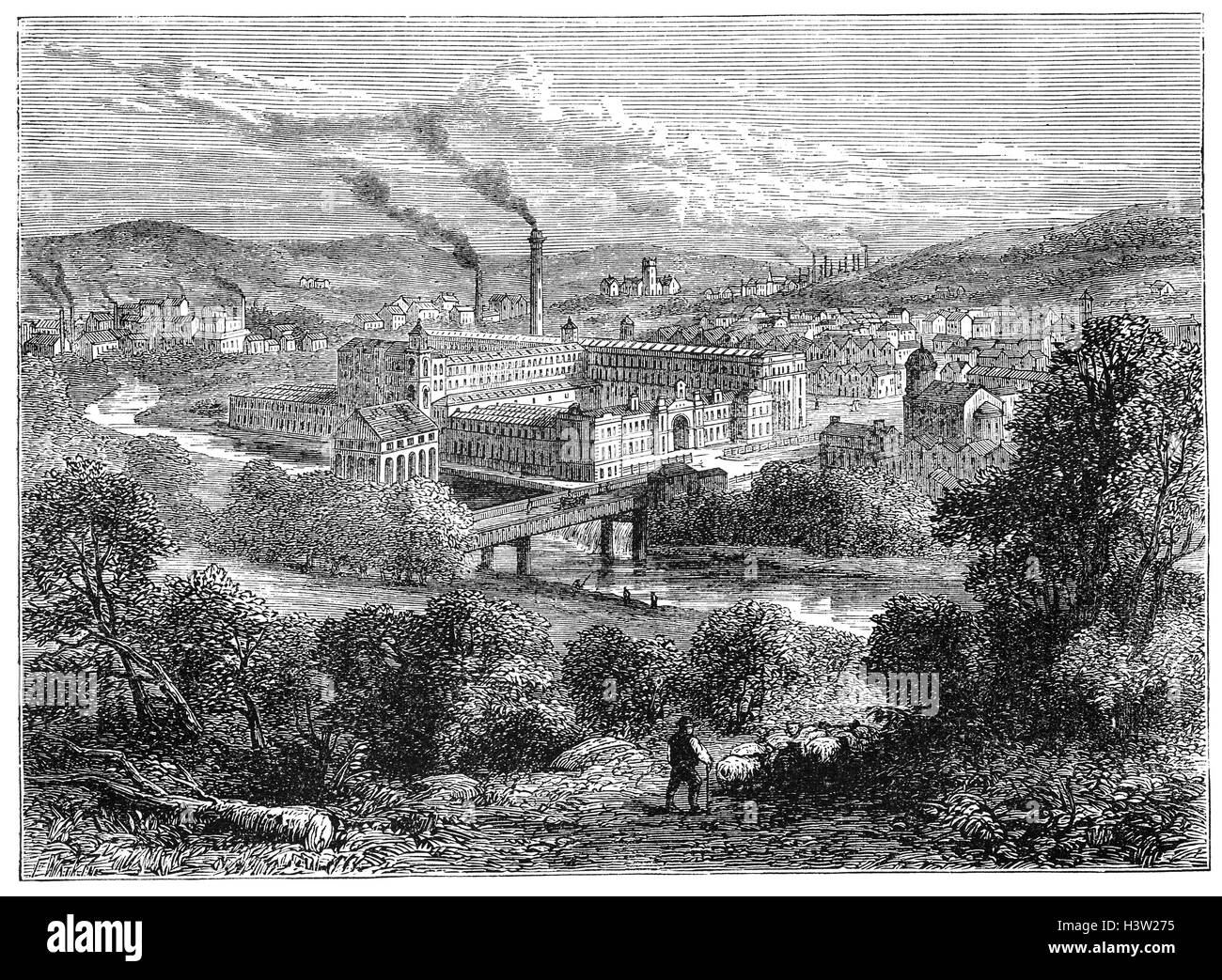 Saltaire is a Victorian model village located in Shipley, was built in 1851 by Sir Titus Salt, a leading industrialist - Stock Image