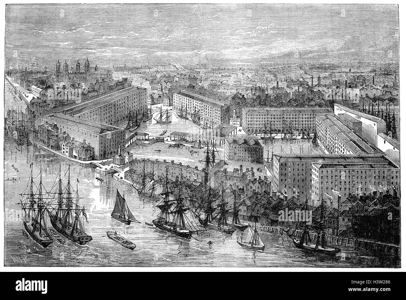 St Katharine Docks, in the London Borough of Tower Hamlets, was designed by engineer Thomas Telford and was his - Stock Image