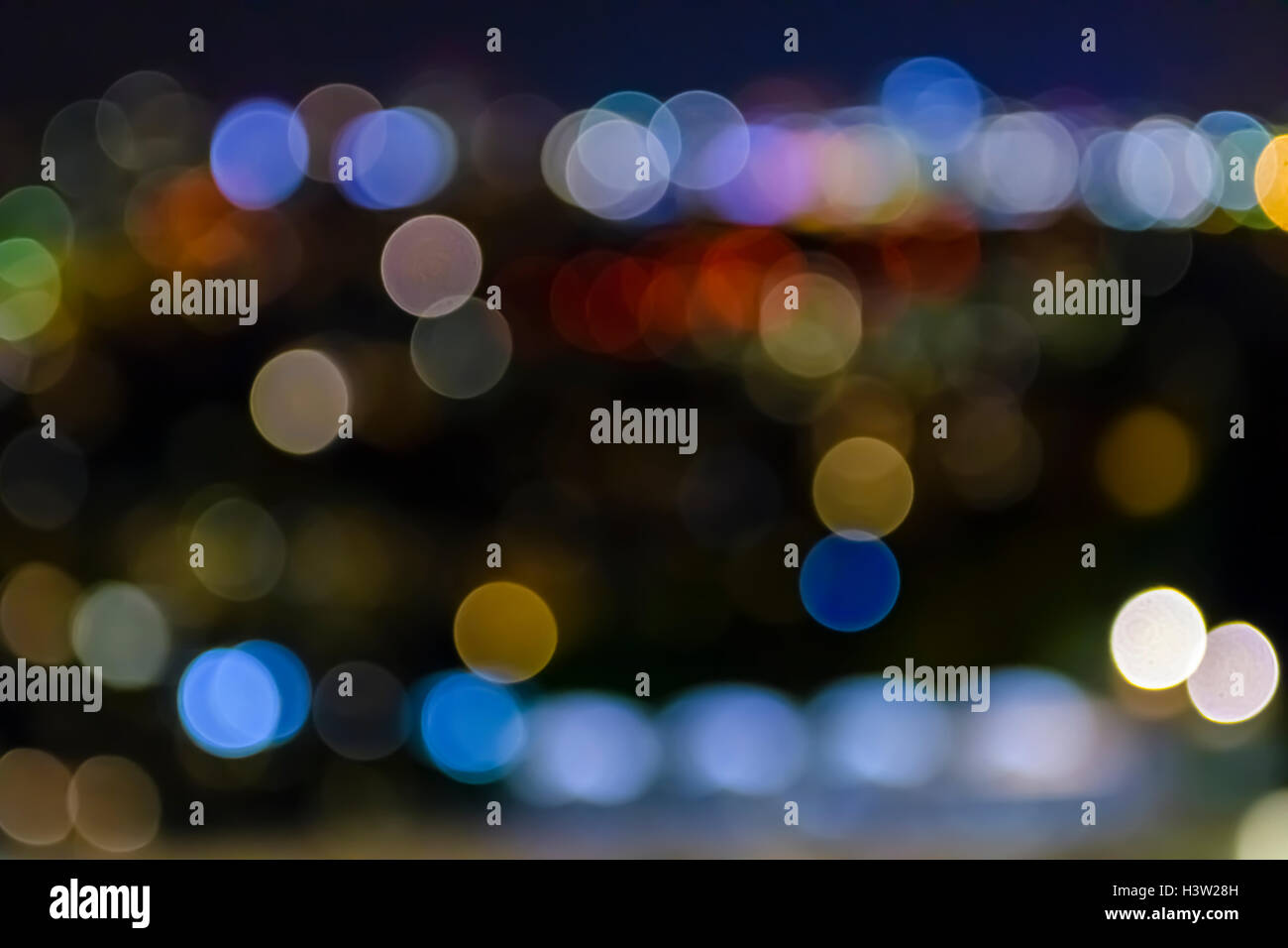 city lights; blurred bokeh; background; colorful Stock Photo