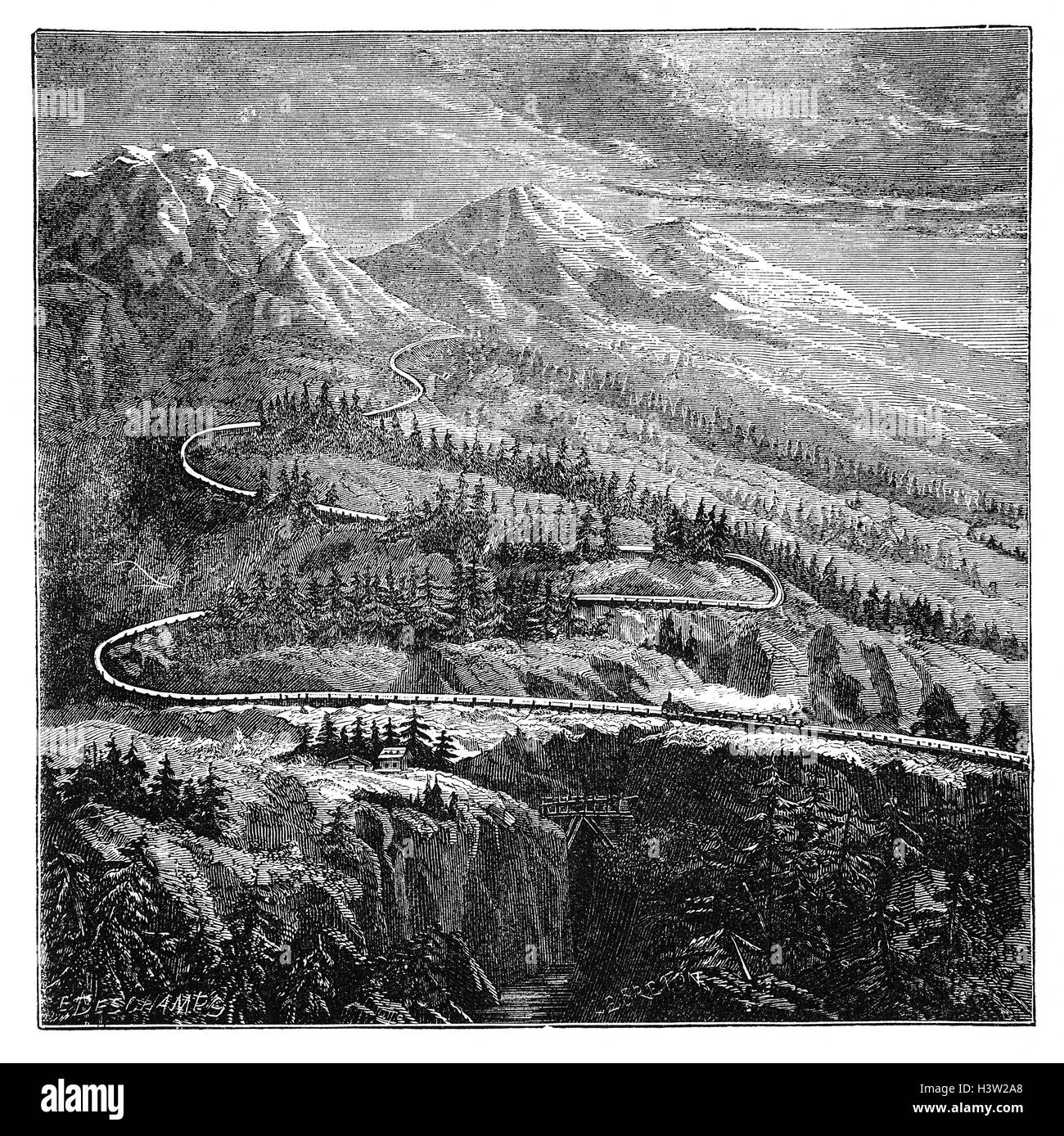 The Mont Cenis Pass Railway was the first mountain railway in the world and was built in during the construction - Stock Image
