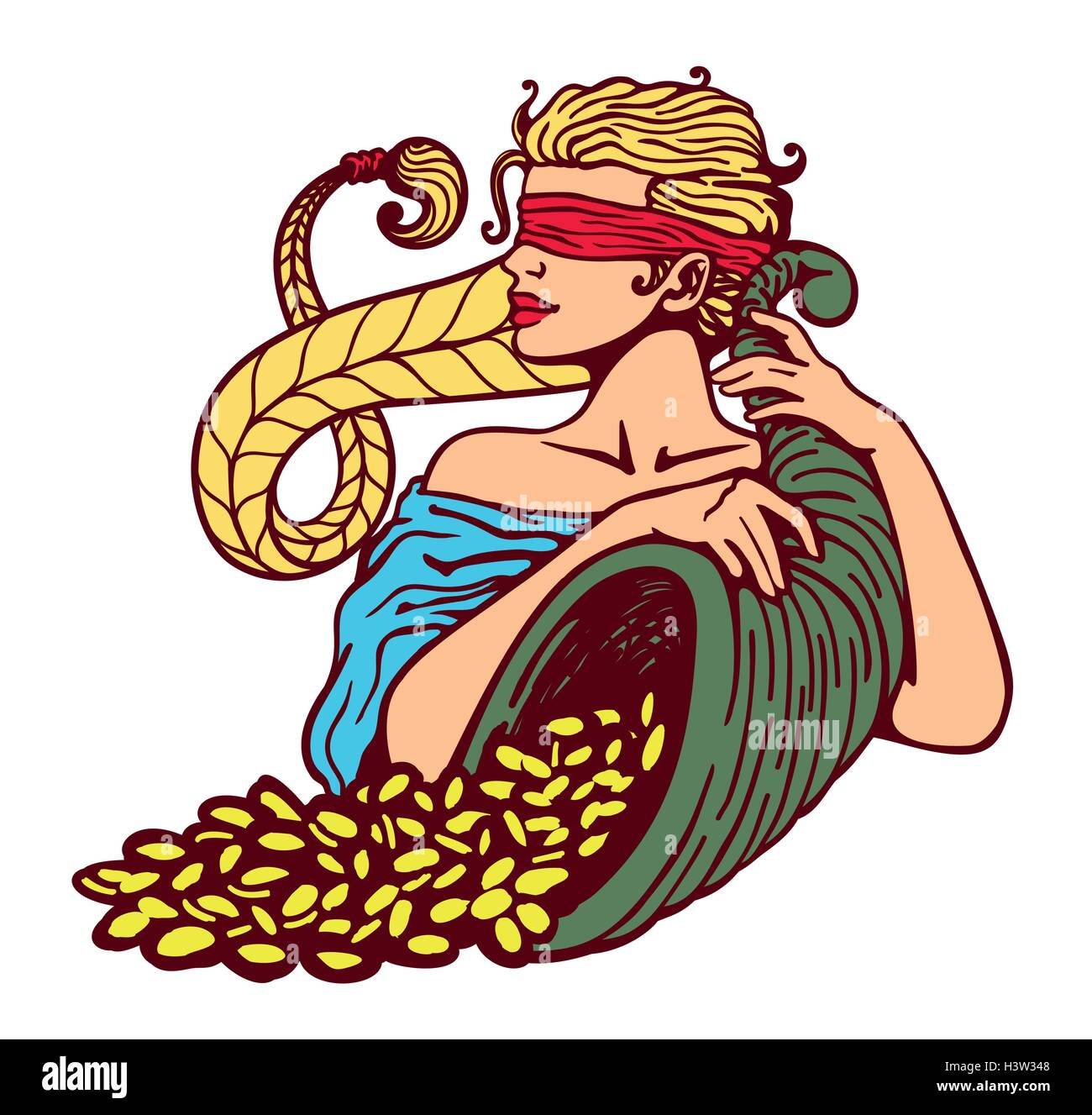 Blindfolded goddess of fortune holding cornucopia horn of plenty full of gold coins, good luck charm, lottery winning, - Stock Vector