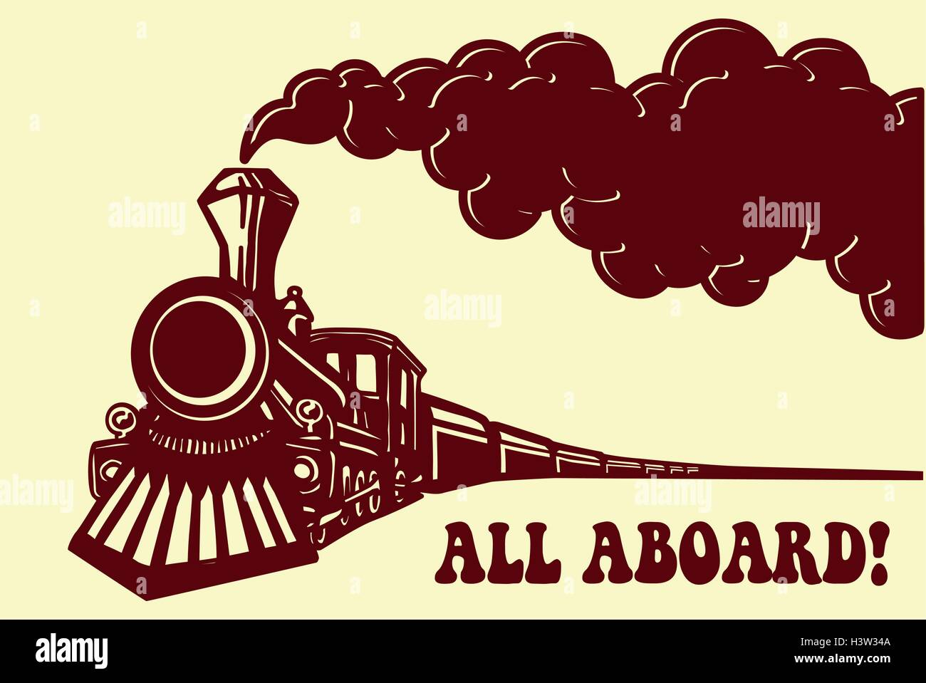 All Aboard Vintage Steam Train Locomotive With Smoke Puff Isolated
