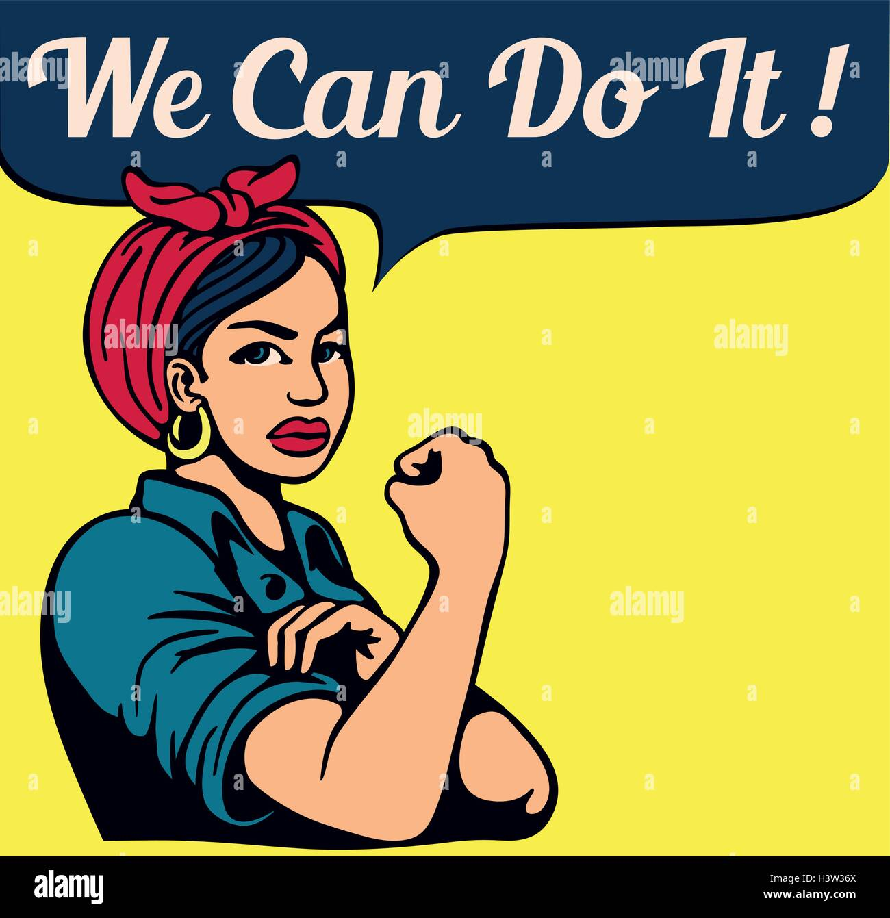 Feminist iconic woman rolling up her sleeves, women's liberation, gender equality, female power, vintage poster, - Stock Image