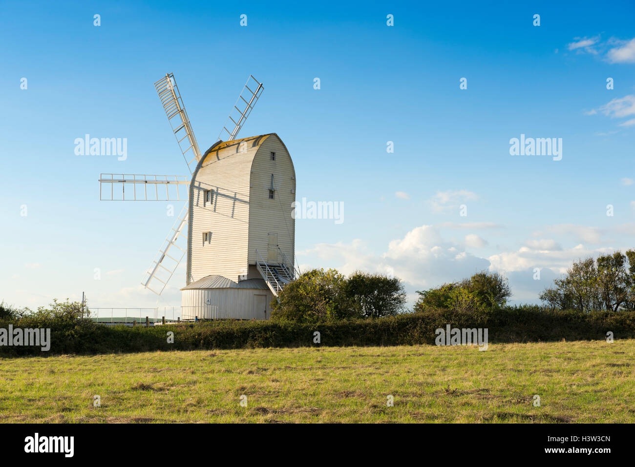 Ashcombe windmill to the east of the village of Kingston near Lewes, East Sussex, England, UK - Stock Image
