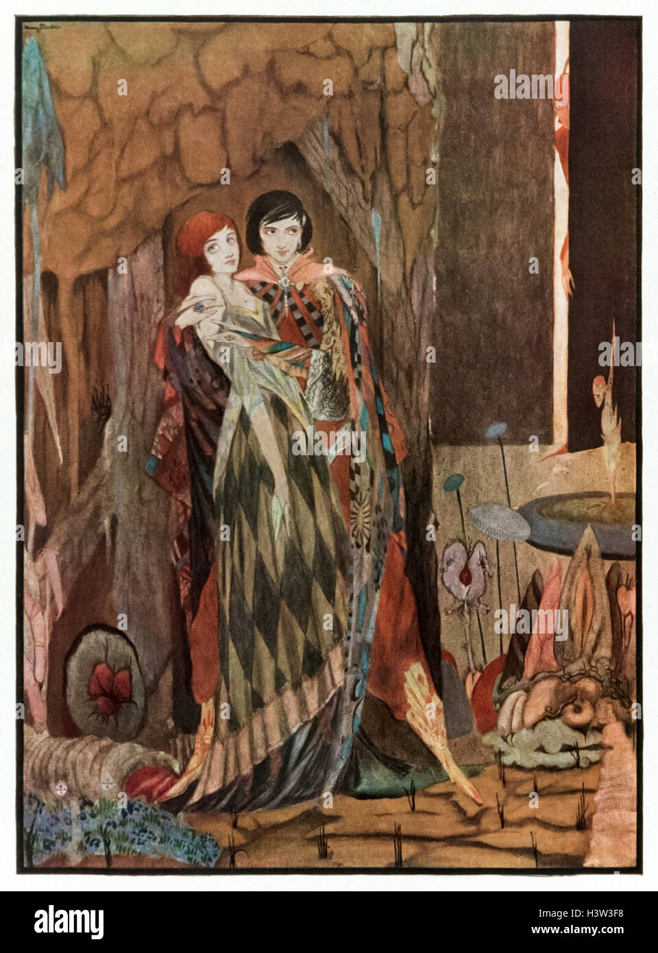 """""""Dearest and best, with my whole heart I love thee."""" Frontispiece illustration from 'Faust by Goethe' by Harry Clarke - Stock Image"""