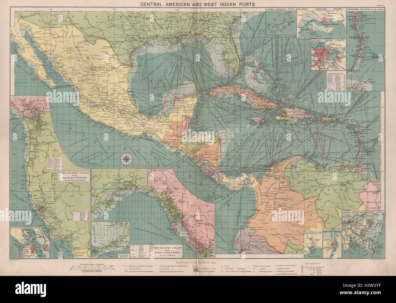 Map Of America Gulf Coast.Central America Caribbean Gulf Of Mexico Chart Ports Lighthouses