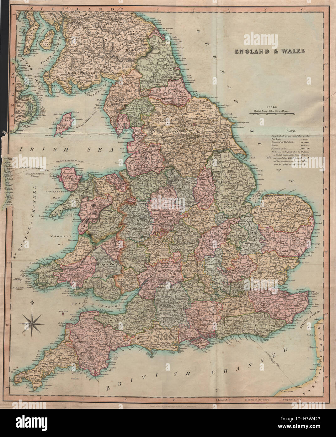 Old map new england stock photos old map new england stock images antique map of england wales by henry teesdale 1831 old chart stock image gumiabroncs Choice Image