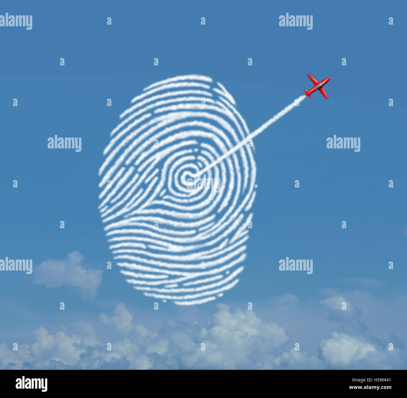 Identity security concept as an acrobatic jet airplane making a smoke trail shaped as a fingerprint or thumbprint - Stock Image