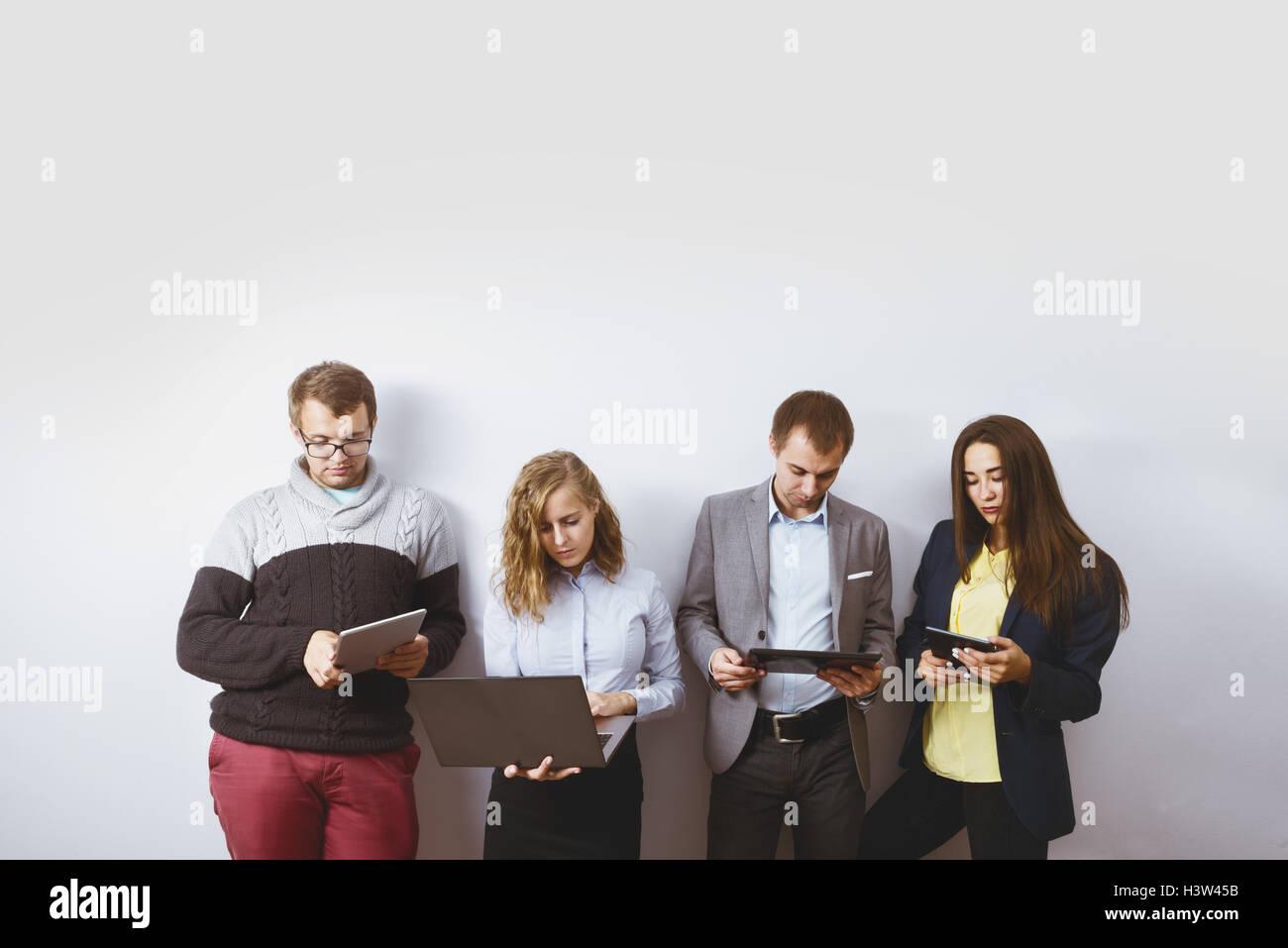 group friends business men gadgets concept - Stock Image