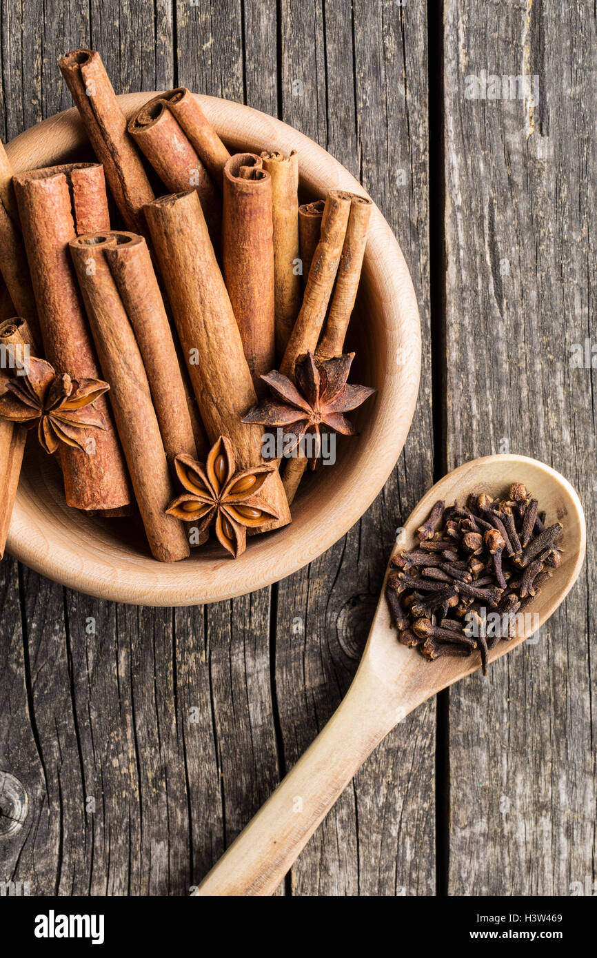 Cinnamon, clove and anise star. Top view. - Stock Image