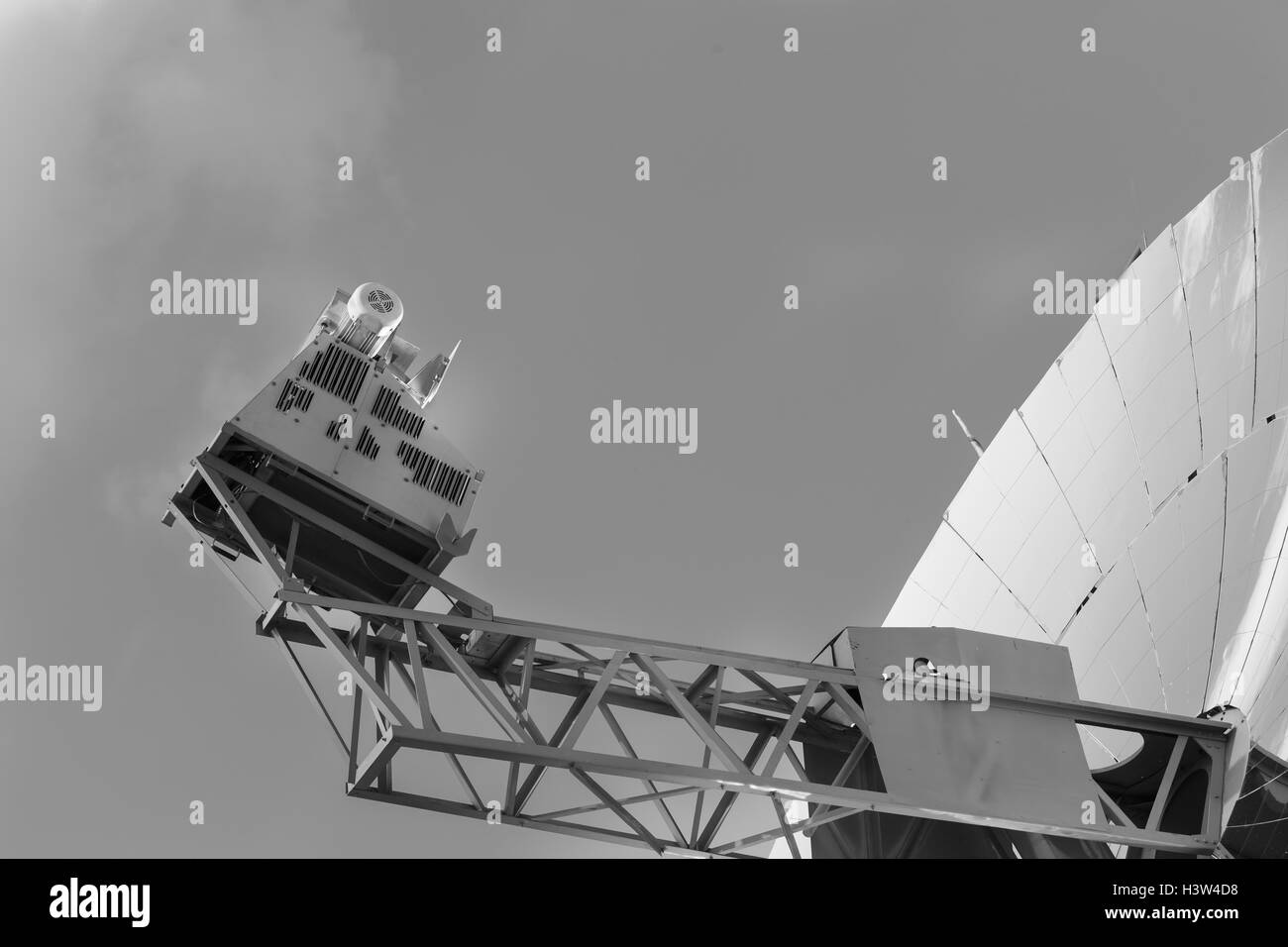 Satellite sistem is directed in sky (Black and white photo) - Stock Image
