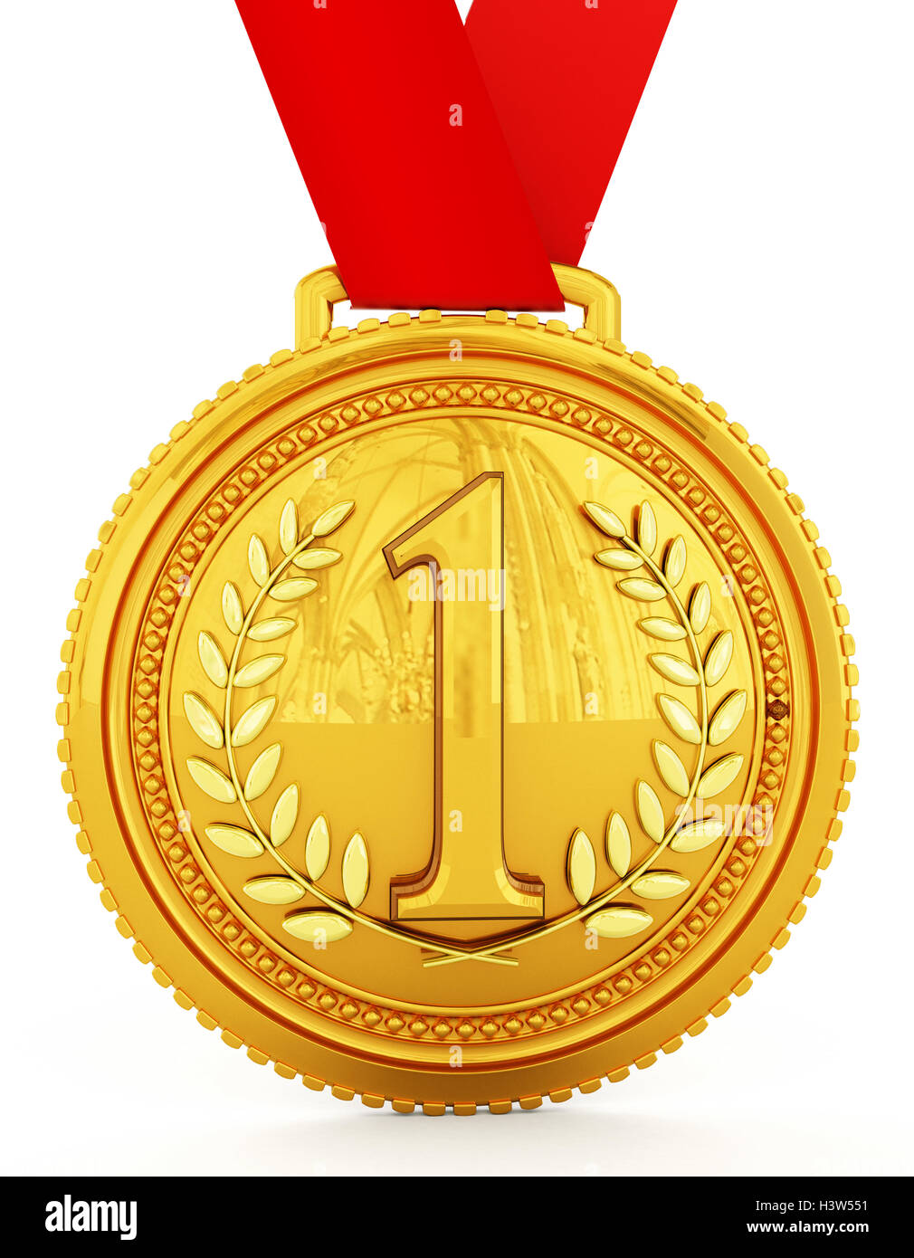 Gold medal with number one. 3D illustration. - Stock Image
