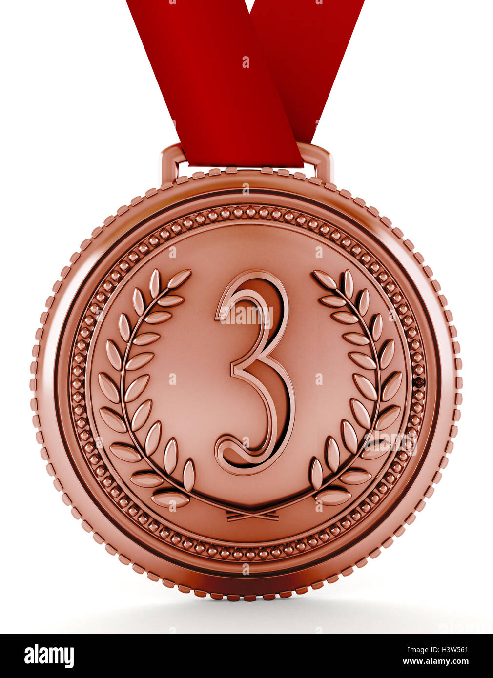 Bronze Medal With Number Three  3d Illustration Stock
