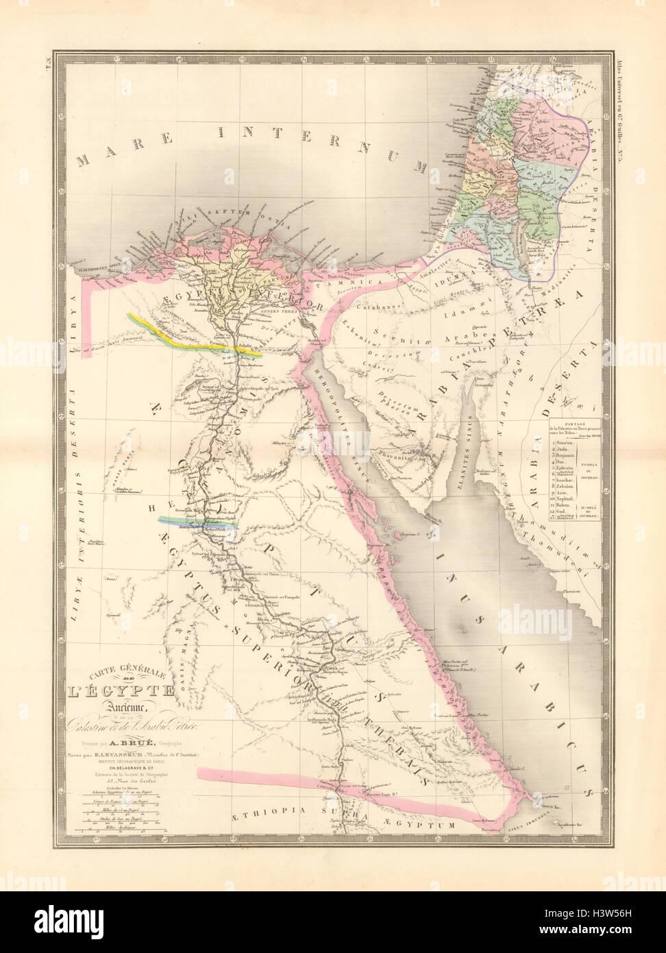 'Égypte Ancienne de la Palestine et de l'Arabie Petrée'. Brué. Egypt 1875 map - Stock Image