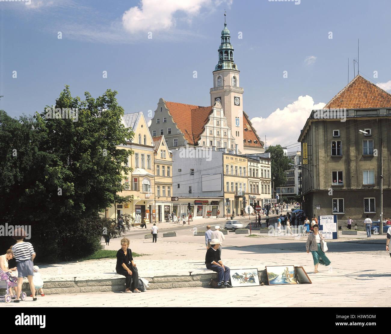 Poland, Masuria, Allenstein, town view, city hall, marketplace, passer-by Europe, Rzeczpospolita Polska, north-east - Stock Image