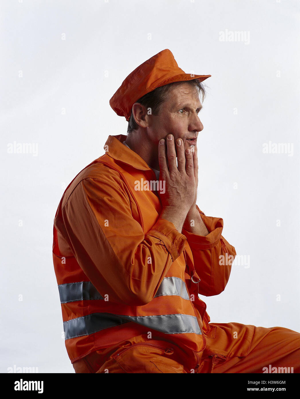 Street worker, gesture, studio, cut out, man, occupation, worker, aghast, in bewilderment, fright, terror, surprise, - Stock Image