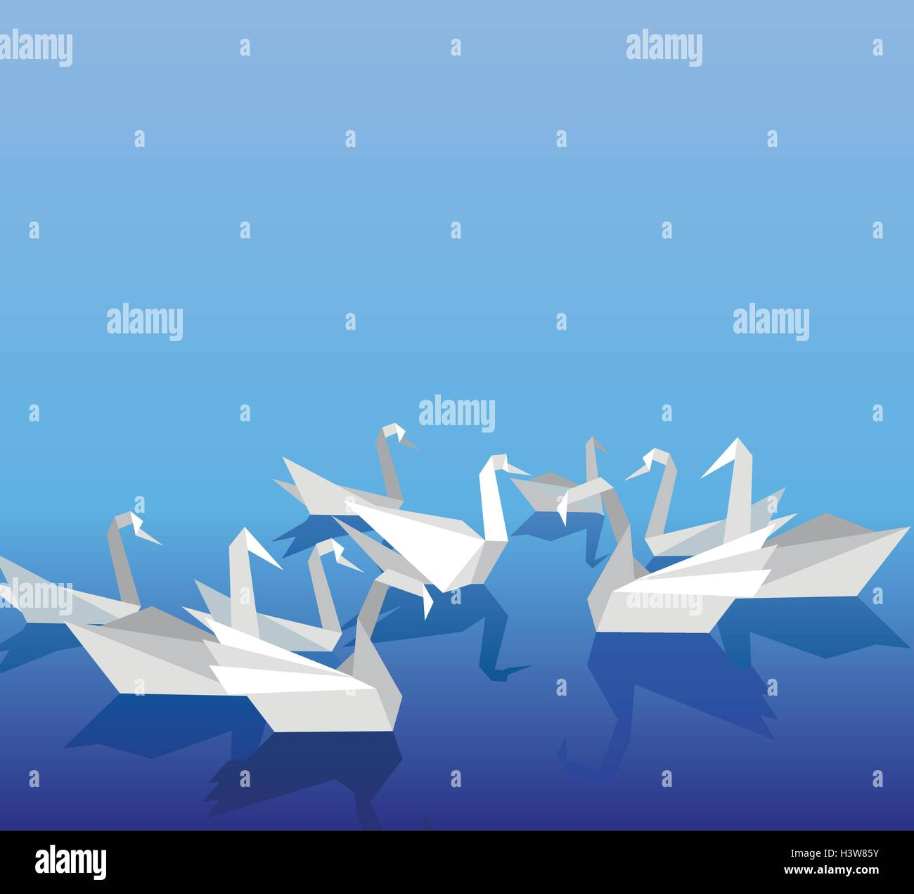 Swan Reflection Stock Vector Images Alamy Origami Goose Diagrams Swans