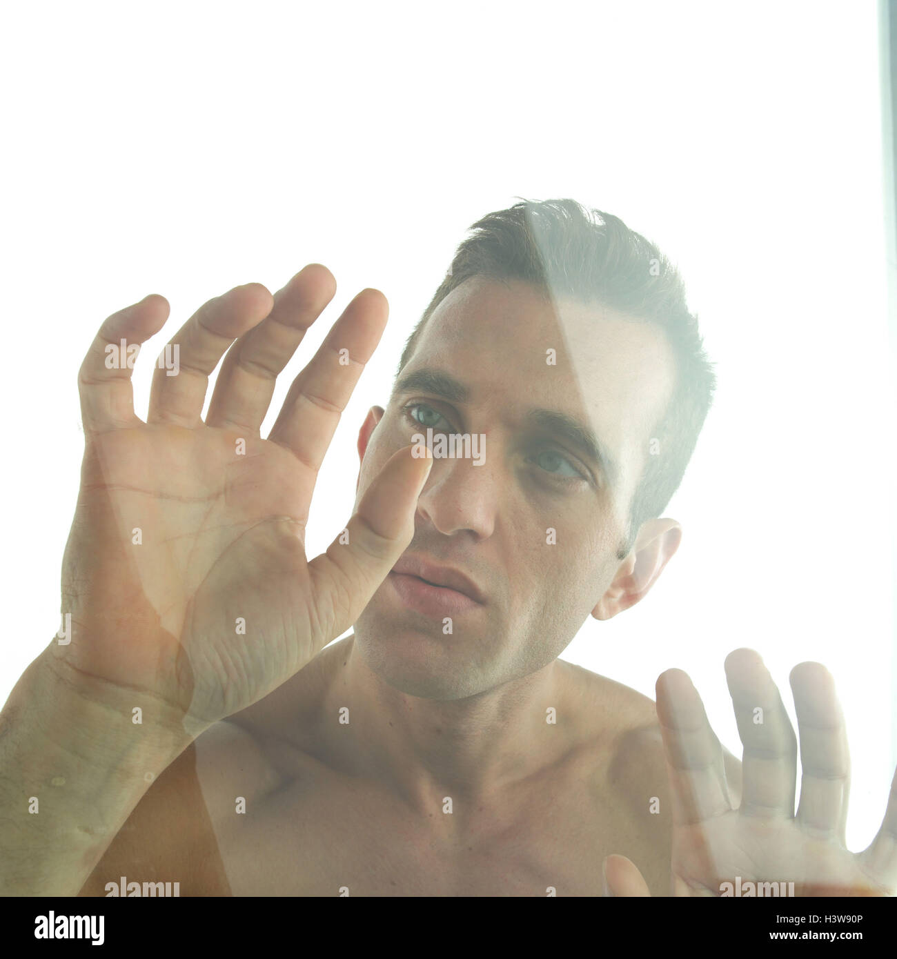 Man, free upper part of the body, gesture, slice, portrait, very close, expression, seriously, thoughtful, thoughtfulness, - Stock Image
