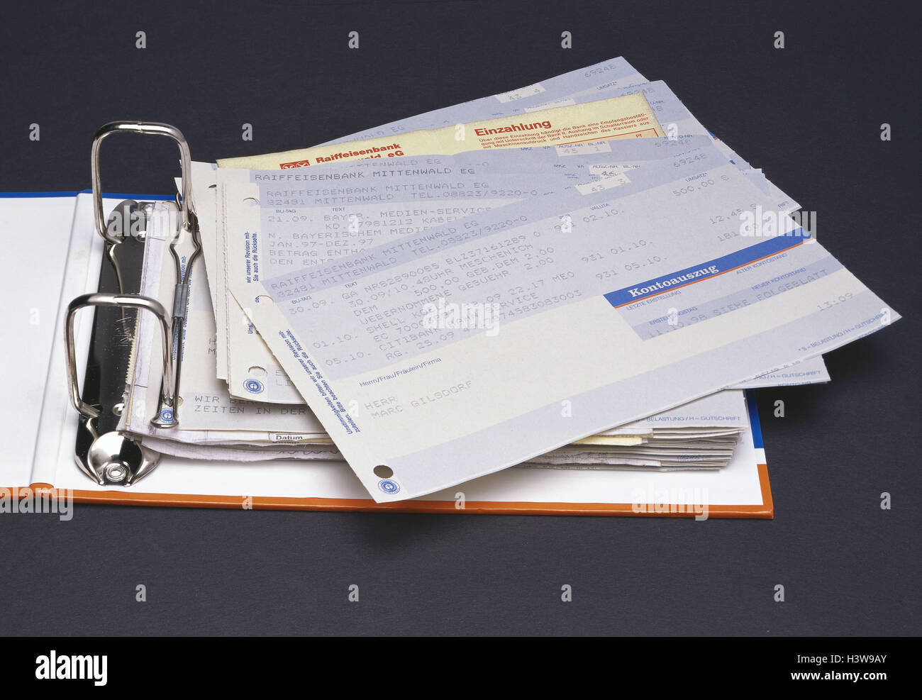 Folder, bank statements, bank statement, bank statement, bank, banking transactions, vouchers, credit balance, product - Stock Image