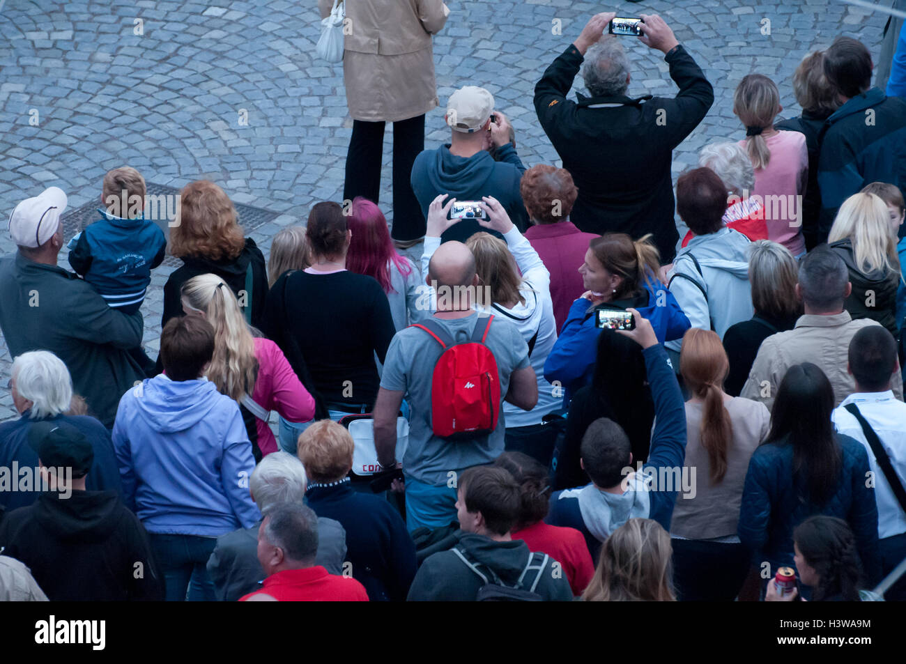 crowd of people, view from above - Stock Image