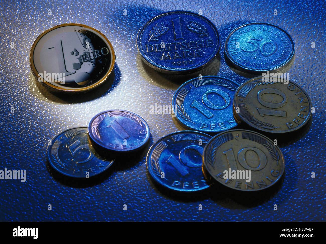 Monetary coins, euro coin, DM coins, equivalent icon, the EU, single currency, changeover, introduction, change, - Stock Image