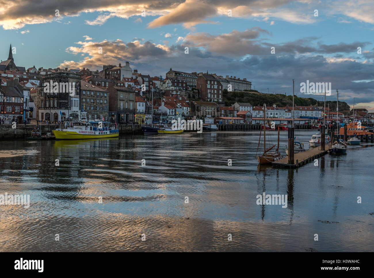 Whitby and the River Esk at dusk - Stock Image