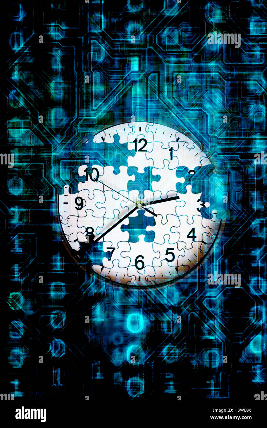 breaking a code against time concept - Stock Image