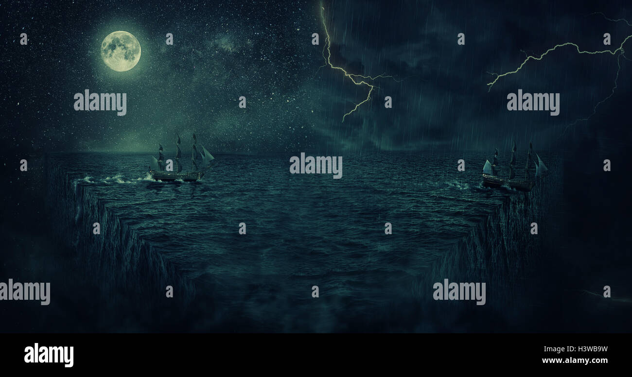 Abstract background with a ship sailing lost in the ocean at night. Adventure and journey concept. Parallel universe, - Stock Image