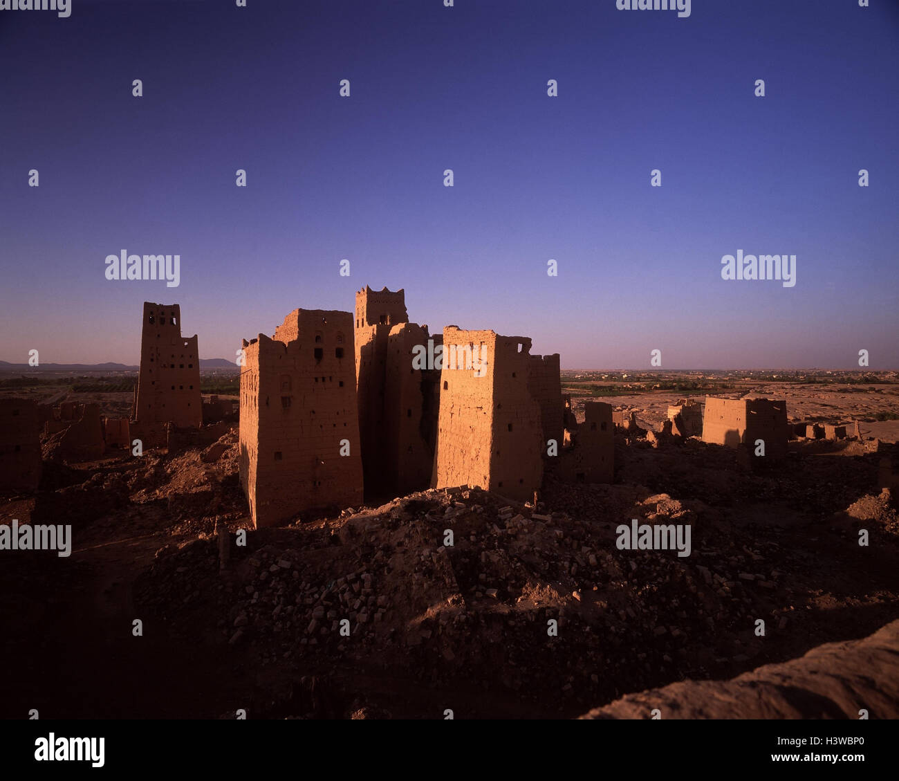 Yemen, Alt-Marib, town view, evening sun, Arabia, alto-in Arabic, peninsula, mucky construction, Old Town, decayed - Stock Image