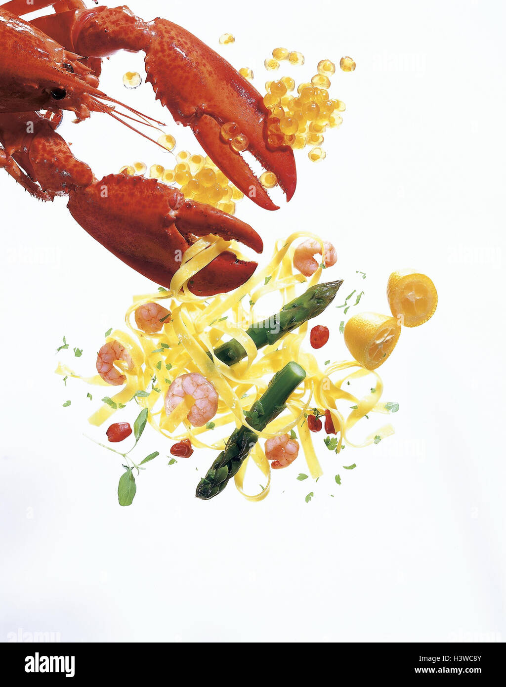 , Still life, lobsters, paste, crabs, caviar, fish dish, ingredients, larders, food, noodles, seafood, crabs, asparagus - Stock Image