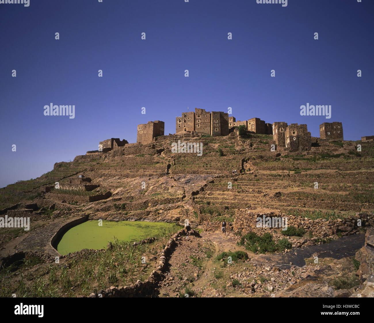 Yemen, mountain village, cistern, Arabia, peninsula, Sahara, sanctuary, village, castle, entries in accordance with. - Stock Image