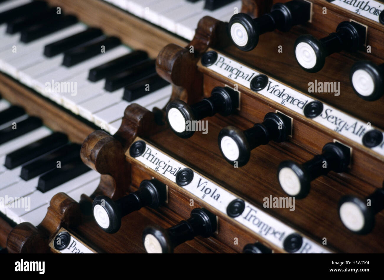 Organ, keyboard, register, detail, buttons, digits, inscription, carving, keyboard, keyboard, buttons, figures, - Stock Image