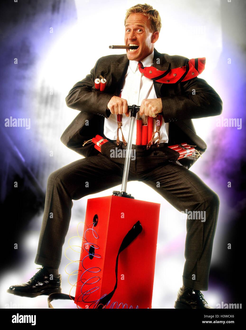Businessman, cigar, dynamite, explosive charge, ignition mechanism, trigger, gesture [M] concepts, businessman, - Stock Image