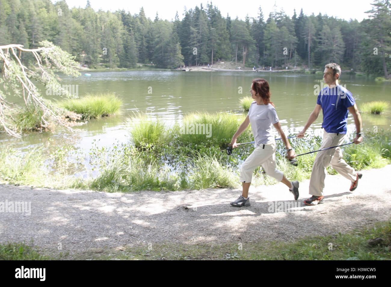 Forest way, lakeside, couple, sportily, jog, hold floors, together, hold on sportswoman, sportsman, sport, fitness, - Stock Image
